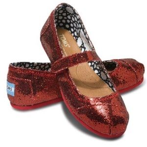 Toms Sparkly Red Mary Janes - Baby Size 2